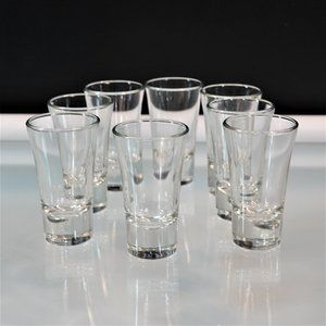 Tequila Shooter 8 Shot Glasses Clear Glass Thick